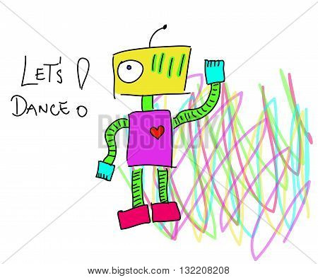 Robot calling to action. Robot says Lets dance. Psychedelic robot.