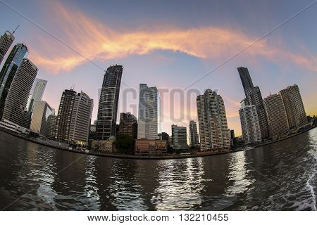 BRISBANE, AUSTRALIA - MAY 25 2016: Fisheye view sunset over Brisbane citycape, view from the river ferry