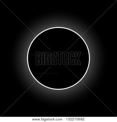 Vector full solar eclipse, space background, vector illustration