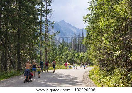 Tourists Walking On Road To Morskie Oko Lake In High Tatra Mountains, Poland