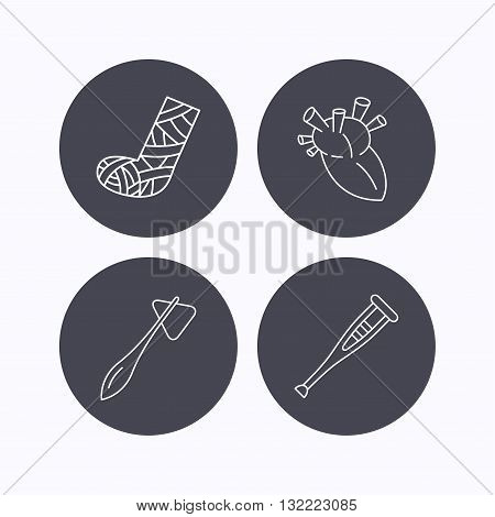 Gypsum, heart and medical hammer icons. Crutch linear sign. Flat icons in circle buttons on white background. Vector