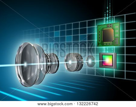 Modern digital imaging sensor, lens and image processor. Digital illustration.