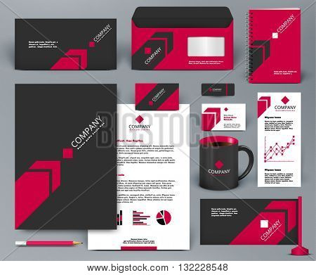 Professional universal branding design kit with red arrow on black background. Corporate identity template.  Business stationery mockup with badge, folder, cup,  pennant, letter.