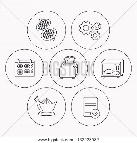 Microwave oven, toaster and juicer icons. Waffle-iron linear sign. Check file, calendar and cogwheel icons. Vector