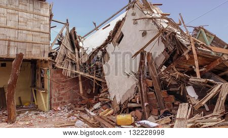 Ecuadorian Village Houses Destroyed By The April 16Th 2016 Earthquake Measuring 7.8 On The Richter Scale, South America