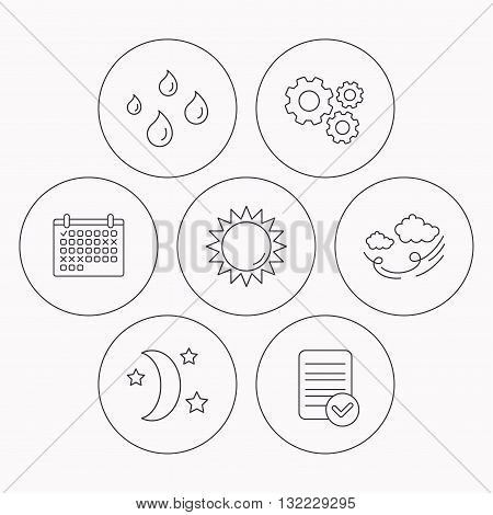 Weather, sun and wind icons. Moon night linear sign. Check file, calendar and cogwheel icons. Vector