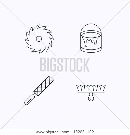 File tool, circular saw and brush tool icons. Bucket of paint linear sign. Flat linear icons on white background. Vector