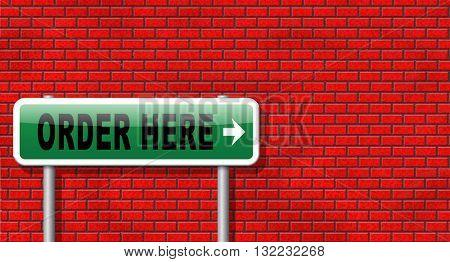 order here button on online internet webshop. Shopping road sign or webshop billboard.