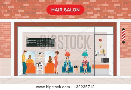 Hair salon building and interior with customer hairdresser barber hair style hair cut hair care hair fashion modelvector illustration.