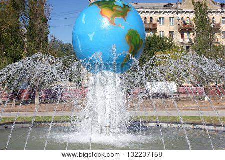fountain in the city park, Volgograd, Russia