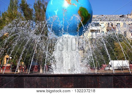 fountain in the city park, Volgograd, Russia