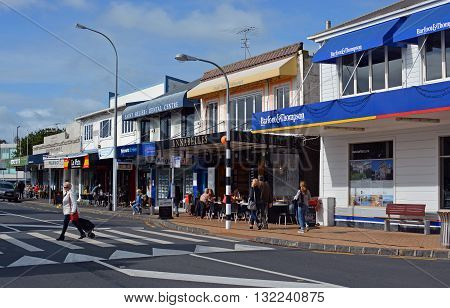 Auckland New Zealand - May 22 2016: The Main Street of St Helliers Bay in Auckland.