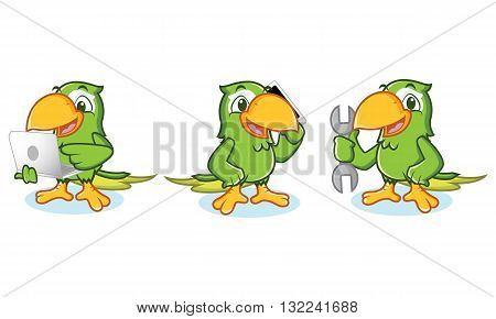 Parrot mascot Vector with laptop phone and tools