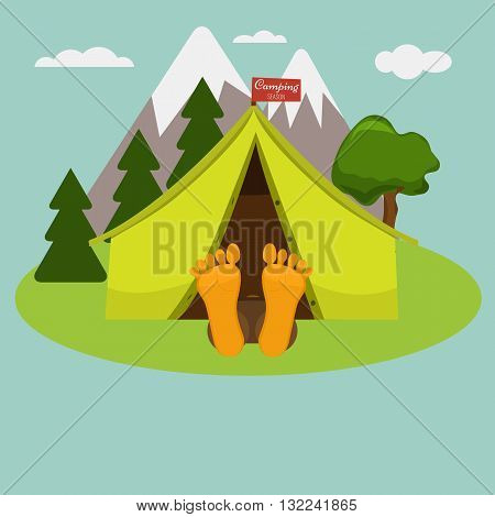 Camping morning. Man is sleeping in a tent. Summer landscape nature with mountain and trees. Legs are out of tent. Weekend in a tent with flag for your title.