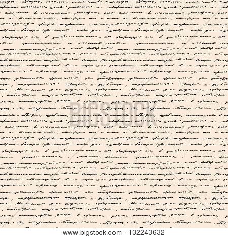 Calligraphy Handwriting. Seamless vector background. Text pattern, vintage style