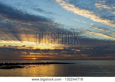 First rays of light on a winter day over the Moreton Bay Queensland Australia