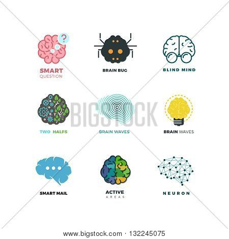 Brain, creation, invention, inspiration, idea vector icons. Inspiration brain logo and idea brain creation illustration