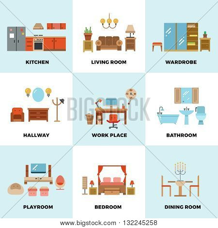Living room, bedroom, kitchen, kids, bathroom, dining, work space, hallway flat vector icons. Interior design room types. Furniture for wardrobe or dining room. House room set icon illustration