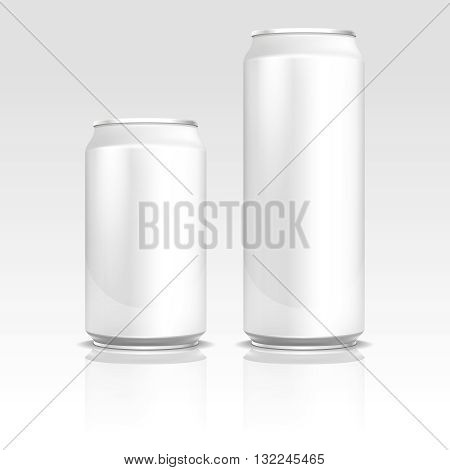 Aluminum energy drink soda beer cans 500 and 330 ml vector realistic template. Metal blank container for drink, refreshment beverage container design illustration