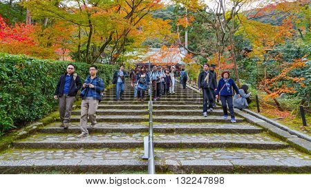 KYOTO JAPAN - NOVEMBER 22 2015: Eikando (View of Eternity Hall) Zenrinji (Temple of Forest of Zen) founded in 853 houses a famous Amida statue which a Japanese important Cultural Property