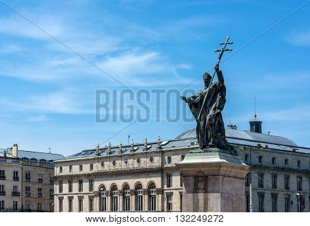 Statue of Cardinal Charles Martial Lavigerie in Place du Reduit with Hotel de ville (City Hall) of Bayonne, called Mairie de Bayonne, in background. Aquitaine, France