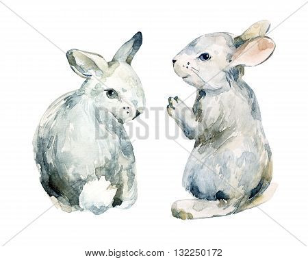 Watercolor grey rabbit set isolated on white background. Watercolor cute baby bunny. Hand painted illustration for childish design