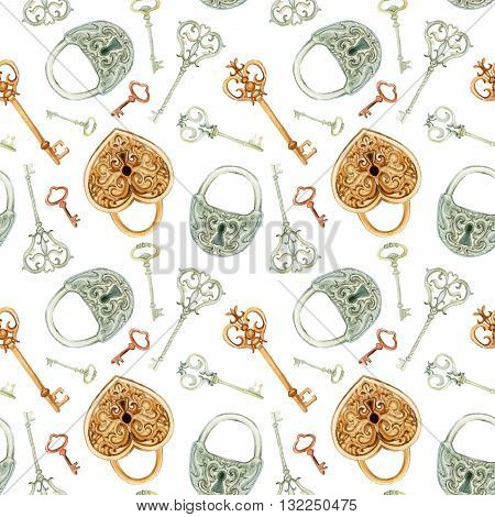 Retro keys and locks seamless pattern. Hand painted illustration on white background