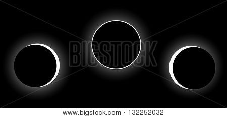 Vector full solar eclipse phases, space illustration