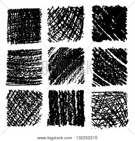 Crayon Hand drawn textures. Freehand drawing elements. Vector illustration.