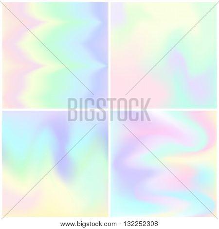 set of Hologram hipster background .Pastel colors backgrounds. Vector illustration
