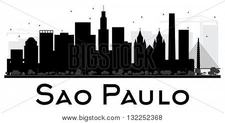 Sao Paulo City skyline black and white silhouette. Vector illustration. Simple flat concept for tourism presentation, banner, placard or web site. Business travel concept. Cityscape with landmarks