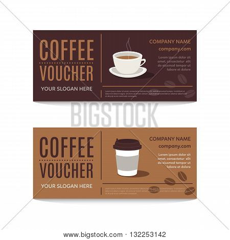 A gift coffee voucher or discount coupon. Vector Flat voucher template.