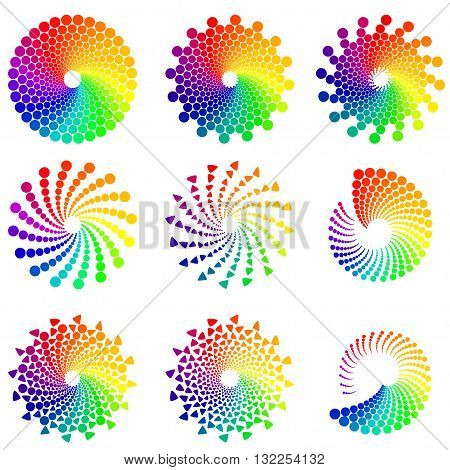 Color wheel or color circle icons set, isolated on white background