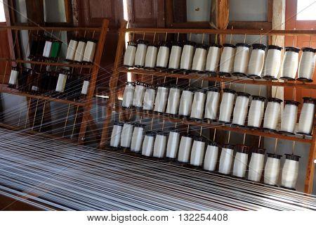 White silk thread on the weaving tool, Inle lake, Myanmar (Burma)