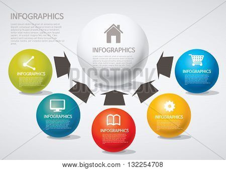 Vector Illustration:   info graphics - arrow, Venn diagram