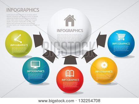 Vector Illustration:   info graphics - arrow, Venn diagram