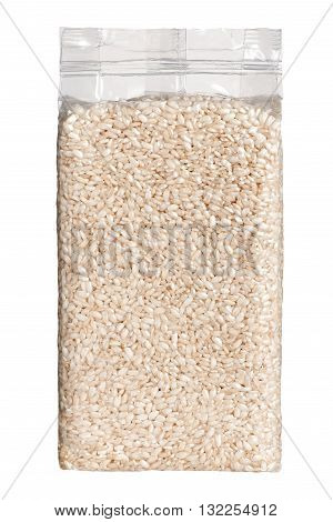 Vacuum Packed Plastic Pack Of Long Grain Rice Front View