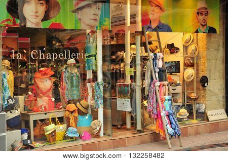 Valence France - april 13 2016 : a hat shop in the city centre