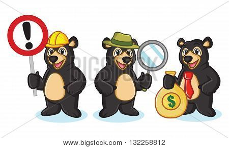 Black Bear Mascot with sign money and magnifying
