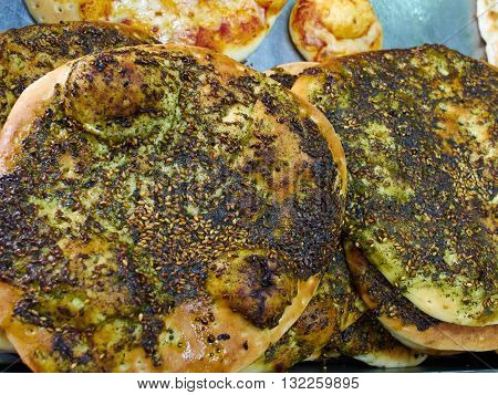 Manakish flat bread with Zaatar Middle East Arabic cuisine