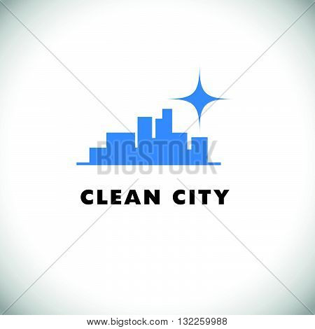 Vector logo for cleaning company. Flat cleaning service insignia. Simple cleaning logo icon isolated on white background. City silhouette icon.