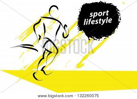Vector hand drawn fitness people sketch. Athlete figure isolated on white background. Human icon. Running man dynamic sport portrait. Healthy lifestyle. Ink drawing. Running, jogging. Sport advertising.