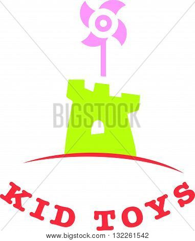 Vector simple flat kid logo. Baby, child company goods, toys shop, store, sweet shop, candy bar logo. Castle icon. Baby toys store insignia, book shop isolated on white background.