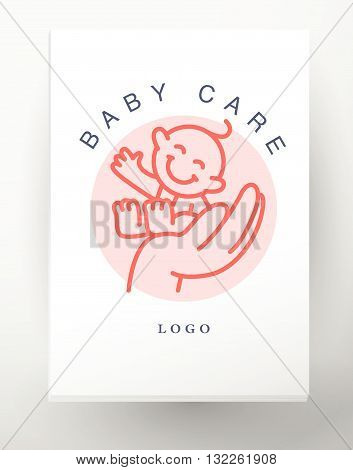 Vector simple flat kid logo. Baby, child company goods, toys shop, store, sweet shop, candy bar logo. Human icon. Children icon, animal character. Flat simple card, poster, advertising, banner collection. Hand holding smiling baby isolated on white backgr