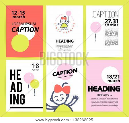 Vector simple flat kid logo. Baby, child company goods, toys shop, store, sweet shop, candy bar logo. Human icon. Children icon, little happy girl character. Flat simple card, poster, advertising, banner collection.