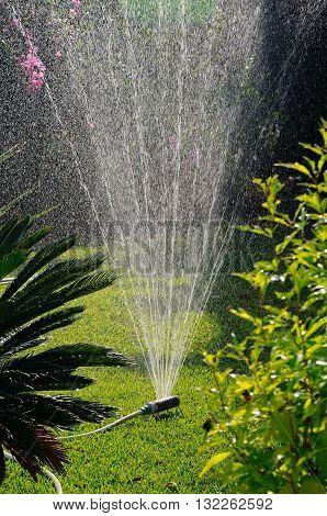 Oscillating garden sprinkler Calahonda Mijas Costa Costa del Sol Andalucia Spain Western Europe.