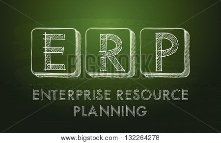 erp, enterprise resource planning systems - chalk text over black board, business concept, vector