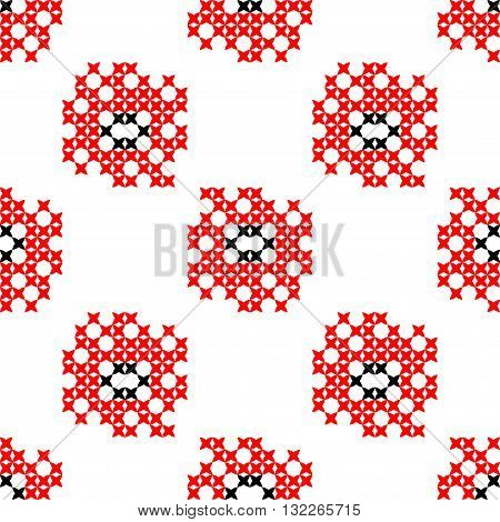Seamless isolated texture with abstract red and black embroidered flowers for cloth. Embroidery. Cross stitch