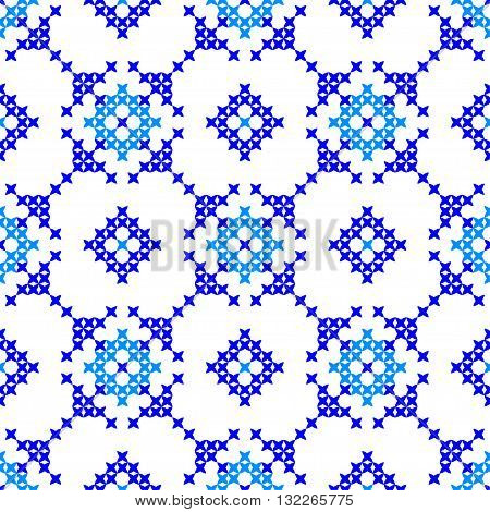 Isolated seamless texture with blue abstract patterns for tablecloth.Embroidery.Cross stitch