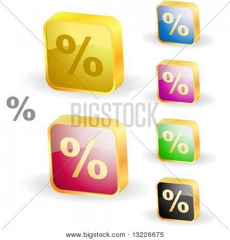 Percent button set. Vector illustration.